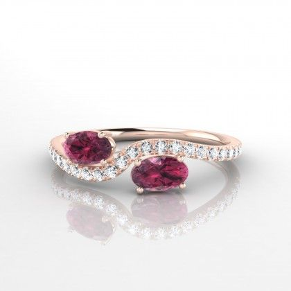 Colette Bague Grenat en Or rose 18k