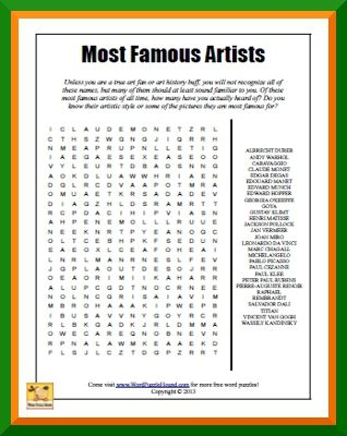 Most Famous Artists Word Search