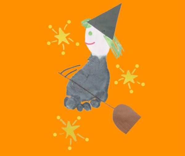Footprint Witch Preschool Art Project.  -Repinned by Totetude.com