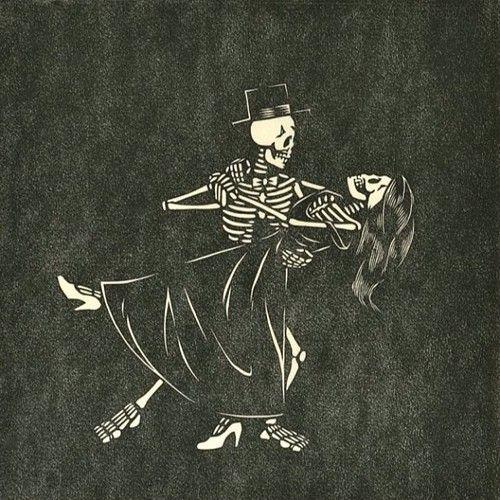 Danse Macabre by Darrel Perkins. Linocut, 2011.