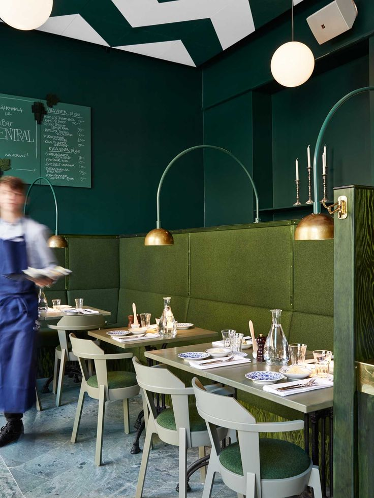 That ceiling ! loving the colours it seems i was ahead of the game . The olive, bottle green palette was the inspiration behind my Springs Greens story Elle Decoration May 14, Bar Central Stockholm by Uglycute | Yellowtrace