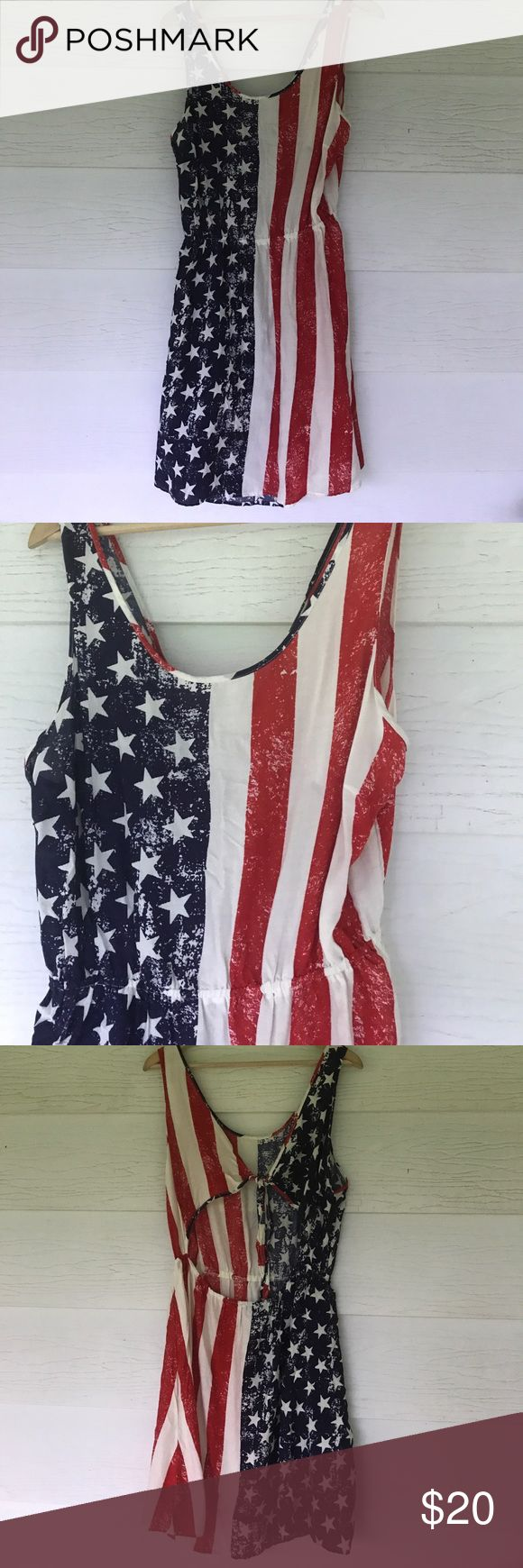 American flag dress Sleeveless. Back is out. American flag dress. 22 bust 39 length. All measurements are approximate. Super cute Rue 21 Dresses