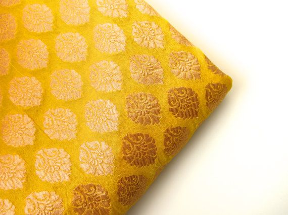 Yellow and gold flowers silk brocade India silk fabric. fabric nr 163 fat quart on Etsy, $12.75