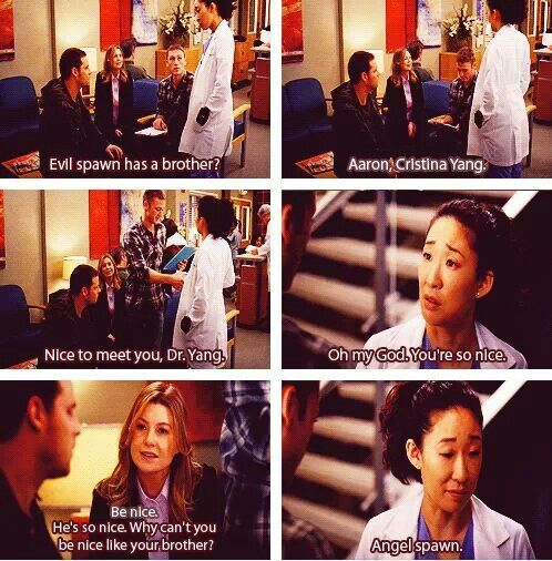 Cristina Yang: Evil spawn has a brother: Alex: Aaron, Cristina Yang. Aaron Karev: Nice to meet you, Dr. Yang. Cristina: Oh my God. You're so nice. Meredith Grey: He's so nice. Why can't you be nice like your brother? Cristina: Angel Spawn. Grey's Anatomy quotes