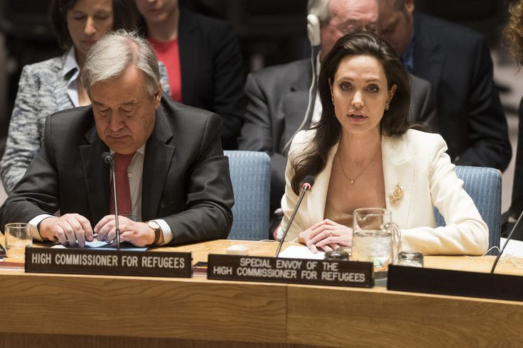 Security Council Discusses Continuing Syria Crisis Angelina Jolie Pitt (right), Special Envoy of the United Nations High Commissioner for Refugees (UNHCR), addresses the Security Council meeting on the continuing conflict in Syria and the attendant humanitarian and refugee crises. At her side is the High Commissioner, António Guterres.  UN Photo/Mark Garten 24 April 2015 United Nations, New York Photo # 629406