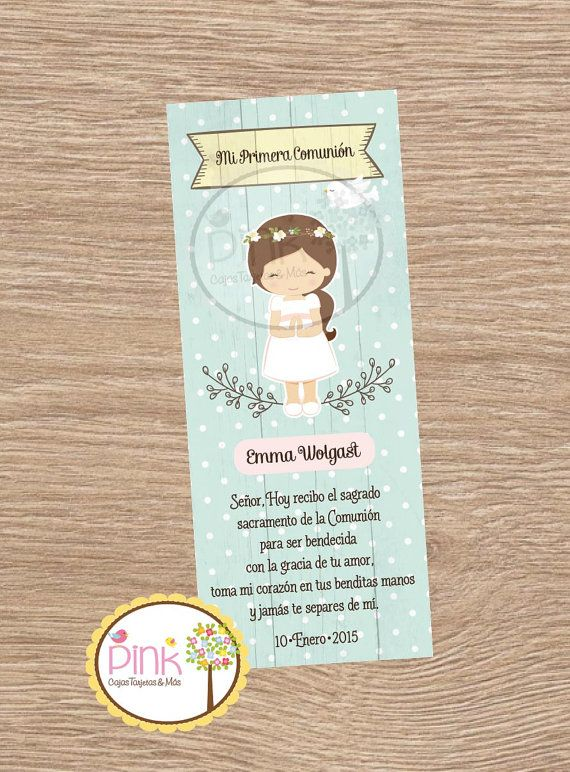 First Communion Favor Cards • Bookmark • Baptism Girl • Recuerdo de Primera Comunion Niña