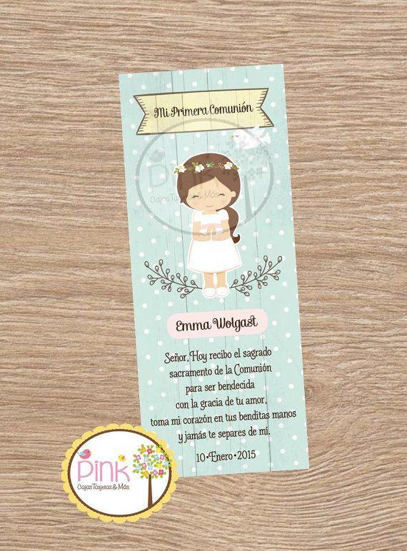 First Communion Favor Cards/ Bookmark / por PinkPaperStudioMiami