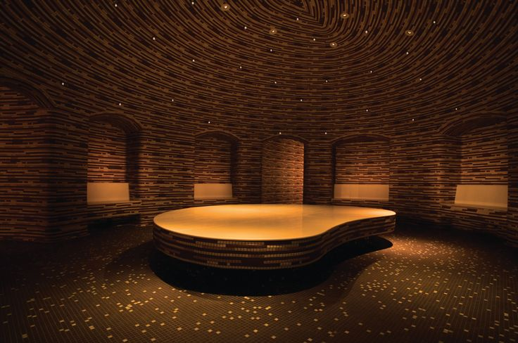 Drift Spa and Hammam in the Palms Las Vegas offers the city's first and only hammam experience, a Turkish-inspired steam bath featuring curved geometry and seating covered in mosaic tiles.