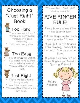 IT'S JUST RIGHT ~ READER'S WORKSHOP BOOKMARKS - TeachersPayTeachers.com
