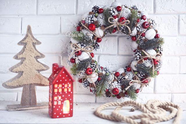 Christmas cones white wreath