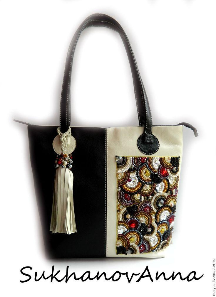 """Купить Сумка """"Бисерное кружево1"""" - чёрно-белый, сумка кожаная, Сумка с вышивкой, вышитая сумка"""