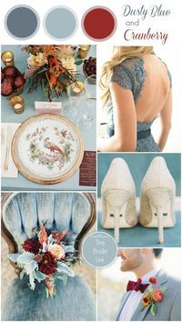 Fall Wedding Color Ideas- dusty blue and cranberry @genevieve1 Mayhaps wintery as well? I feel like grey is easier to do than dusty blue?