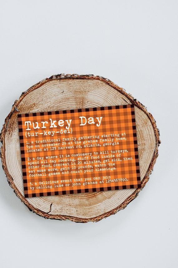 Turkey Day Definition Invite Personalized Printable Rustic