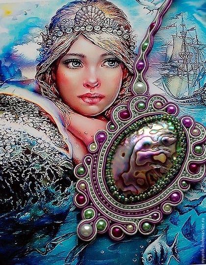 "Сутажный кулон ""Королева морских глубин"" - гелиотис,раковина,ракушка,русалка"