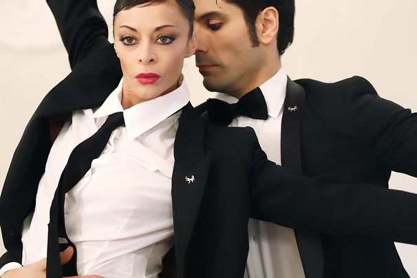 Sabrina Brazzo, the étoile of Teatro alla Scala (www.sabrinabrazzo.com) with Andrea Volpintesta in a unique performance for Tombolini at Pitti Uomo.