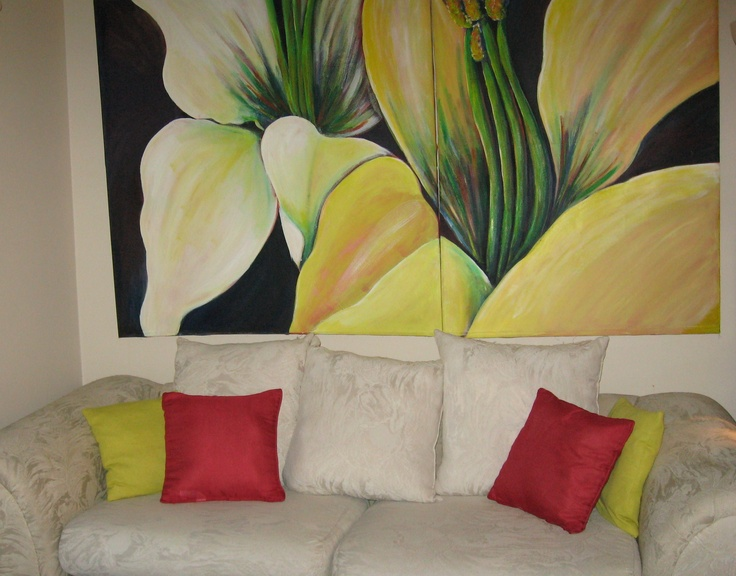 This is a very large diptych...8ft by 4 ft. in a living room setting.