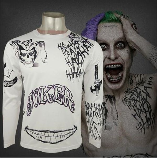 Comando suicida Camisa Harley Quinn Joker Deadshot Tatuaje camiseta de Impresión Hombres de Manga Larga camisa Batman Cosplay Top