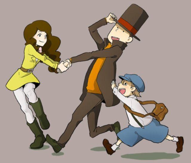Emmy and Luke dragging Professor Layton along