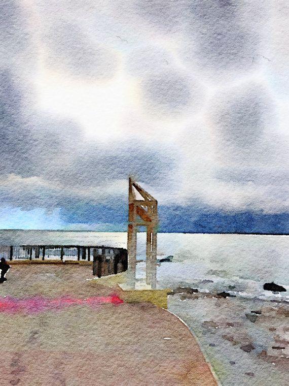 Watercolor Print  The Pool Walkway at Kings Beach  Seascape