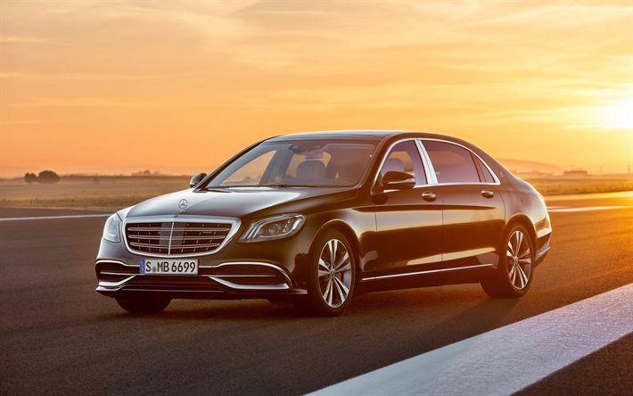 Télécharger fonds d'écran Mercedes-Benz Classe S Maybach, en 2018, le Noir de la Classe S, Maybach, berline de luxe, voitures allemandes, Mercedes