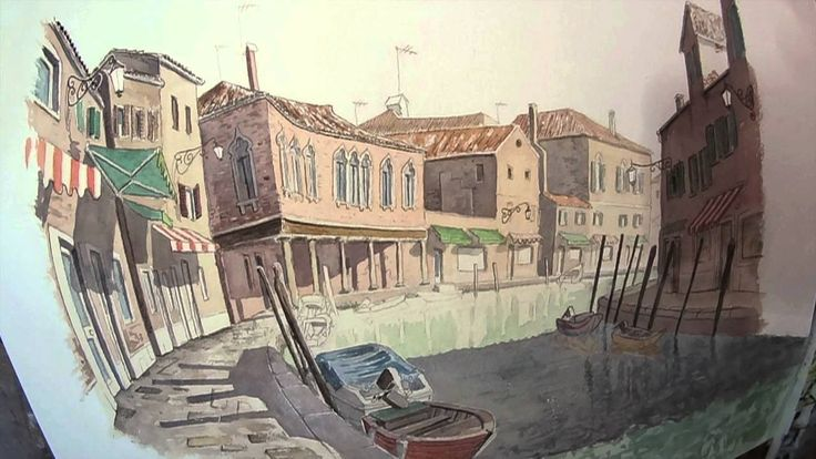 Murano watercolor by Andrea Longhi