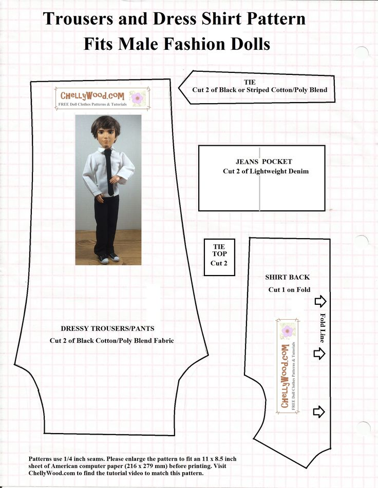 This is the first of two free patterns I'm posting this week. If you look back at yesterday's post, you'll see that these clothes fit Ken as well as Spin Master Liv Doll Jake (pic…