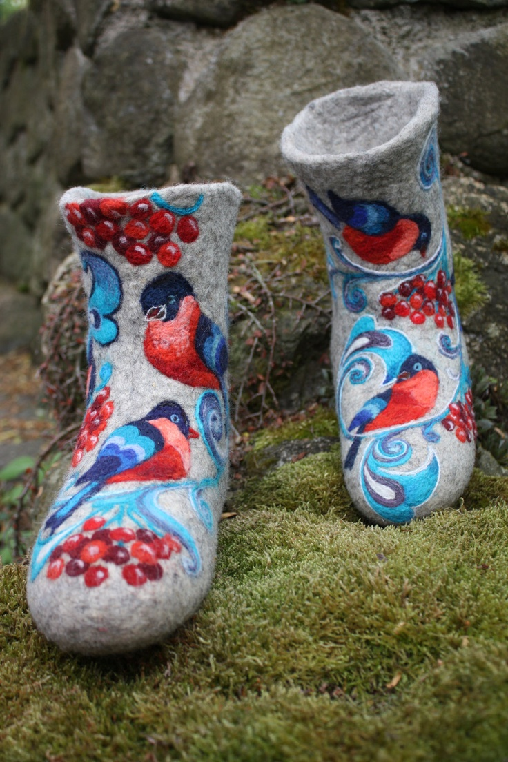 Felted Low shoes- Blue Spirit Made to order. $270.00, via Etsy.