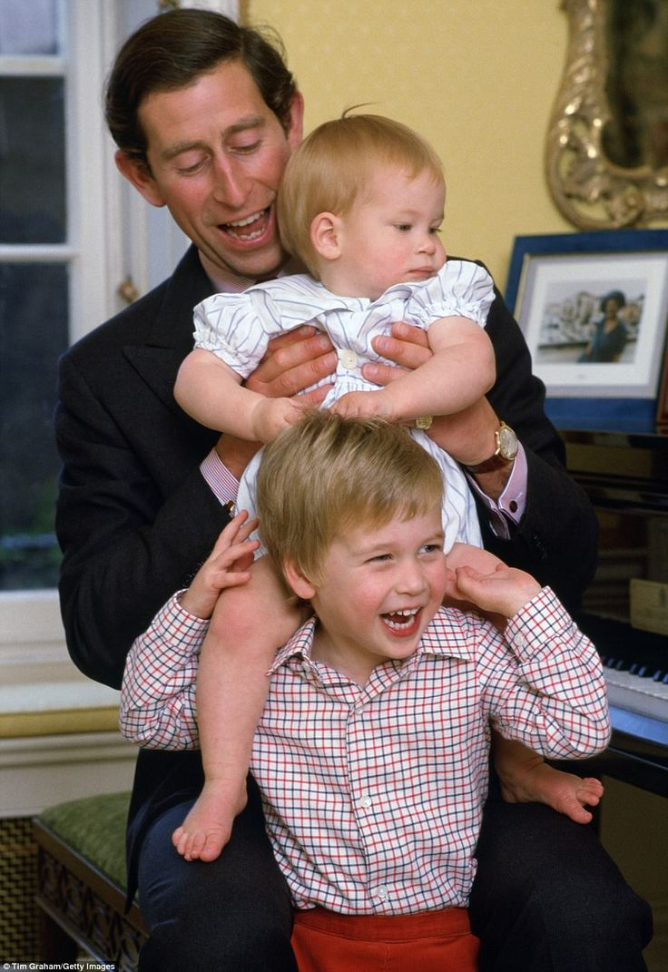 Prince Charles Is Pictured With A Young Prince Harry And William In  Kensington Palace In The