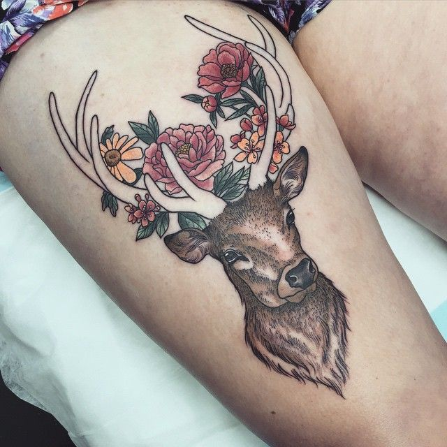 Massive day at work today at @lighthouse_tattoo . Didn't get to finish this one, will do the antlers another day when my body doesn't hate me so much  Thanks Eva!