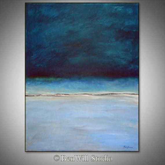 Abstracto pintura azul ORIGINAL obra de arte pintura al óleo abstracta azul grande moderna decoración - horizonte 36 x 28 por BenWill
