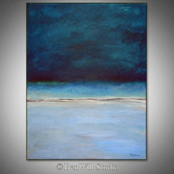 Abstract BLUE Painting ORIGINAL Artwork Large Blue Abstract Oil Painting Modern Decor - HORIZON  36x28 by BenWill
