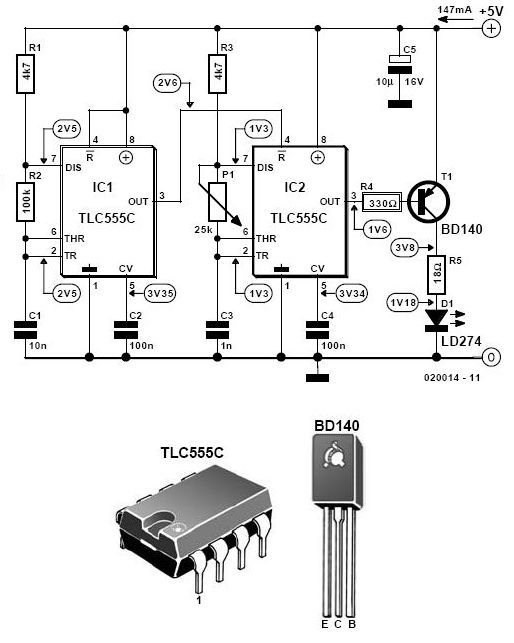 Infrared Light Alarm Transmitter Circuit Schematic