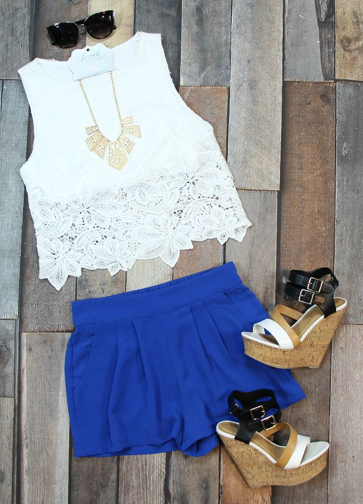 Sexy summer chic, lace crop top, high waisted cobalt shorts