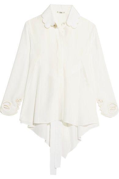 Fendi - Open-back Scalloped Silk Crepe De Chine Shirt - White - IT