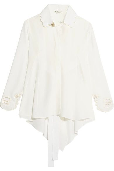 Fendi - Open-back Scalloped Silk Crepe De Chine Shirt - White - IT