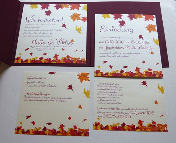 Pocketfolder Einladungskarte Für Hochzeit Mit Mehreren Einlegern In  Herbstfarben
