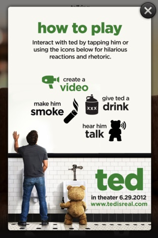 "Play your favorite sound clips from the film ""Ted.""  When you tap a phrase, the app plays a small video of the talking teddy bear."