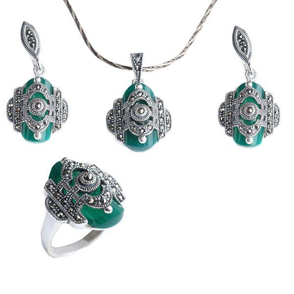 Yeşil  ve markazit taşlı gümüş bayan set