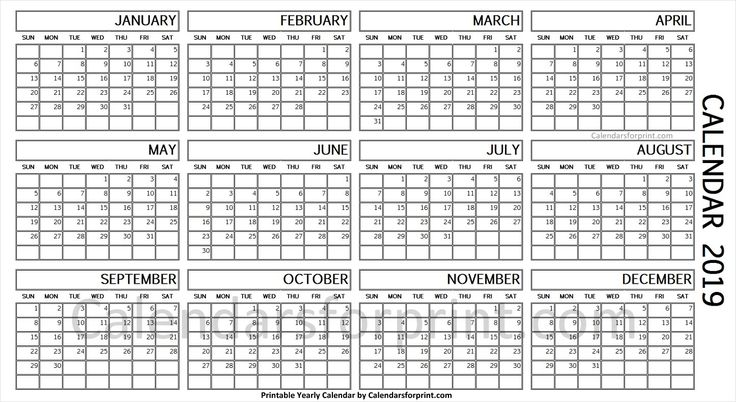 2019 Year Calendar On One Page Calendar First Page Calendar Printables