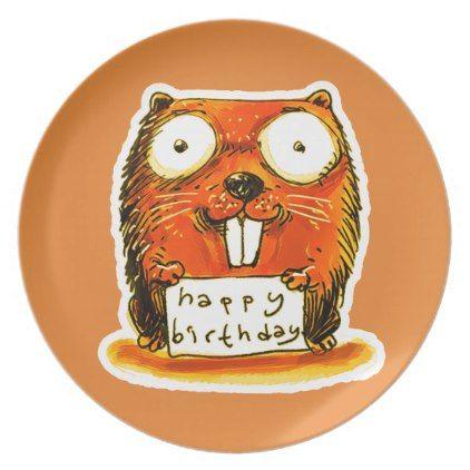 cartoon style beaver holds happy birthday message dinner plate - home decor design art diy cyo custom