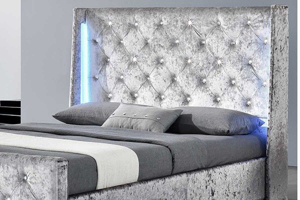 Dorchester Silver Crushed Velvet Led Lights Winged Bed Frame