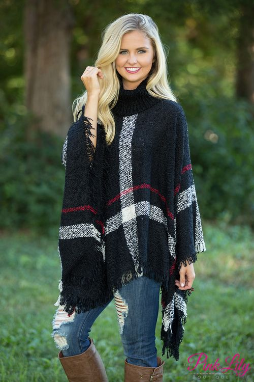 You're going to stay classy all season long in this gorgeous plaid poncho!