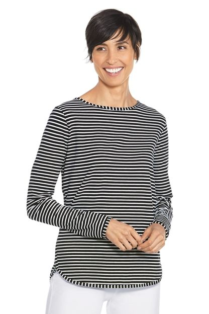 Long sleeve sun protective top in rich stripes. Lightweight, breathable side split shirt for stylish UPF 50+ protection that looks good and feels comfortable.
