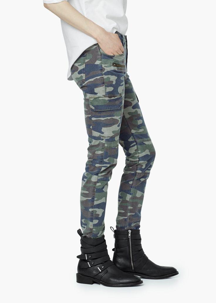 Pantaloni imprimați camuflaj -  Femei | MANGO