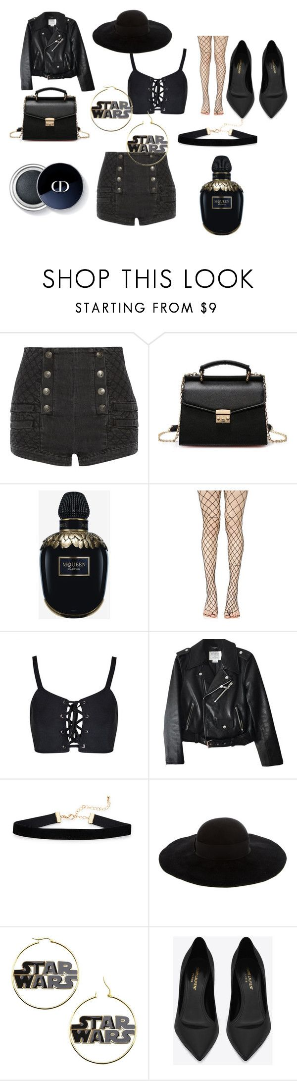 """BLACKSTAR BLAST"" by marguerite-dillworth on Polyvore featuring Pierre Balmain, Alexander McQueen, Leg Avenue, Kate Spade, Eugenia Kim and Yves Saint Laurent"