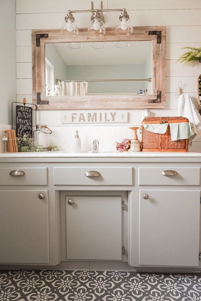 Guest Bathroom Reveal Blue Bathroom Bathroom Design Decor Rustic Bathroom Shower