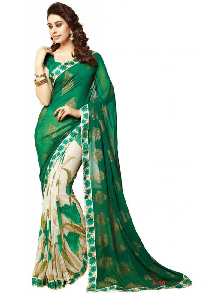 Green and Cream color printed saree- Indiana Lifestyle