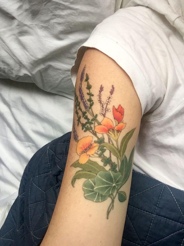 Botanicals and herbs tattoo. Thyme, lavender, nasturtium, lemon verbena and bay laurel.