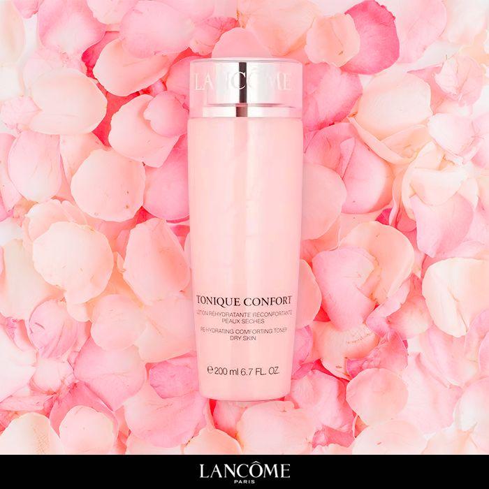 Pele macia como pétalas de rosa. Tonique Confort, o tônico para peles secas de Lancôme.