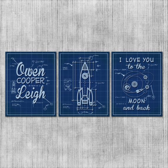 Nursery Wall Art Rocket Ship Space Theme Kids by InvitingMoments